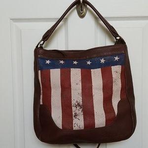 Sheryl Crow Americana distressed leather hobo bag